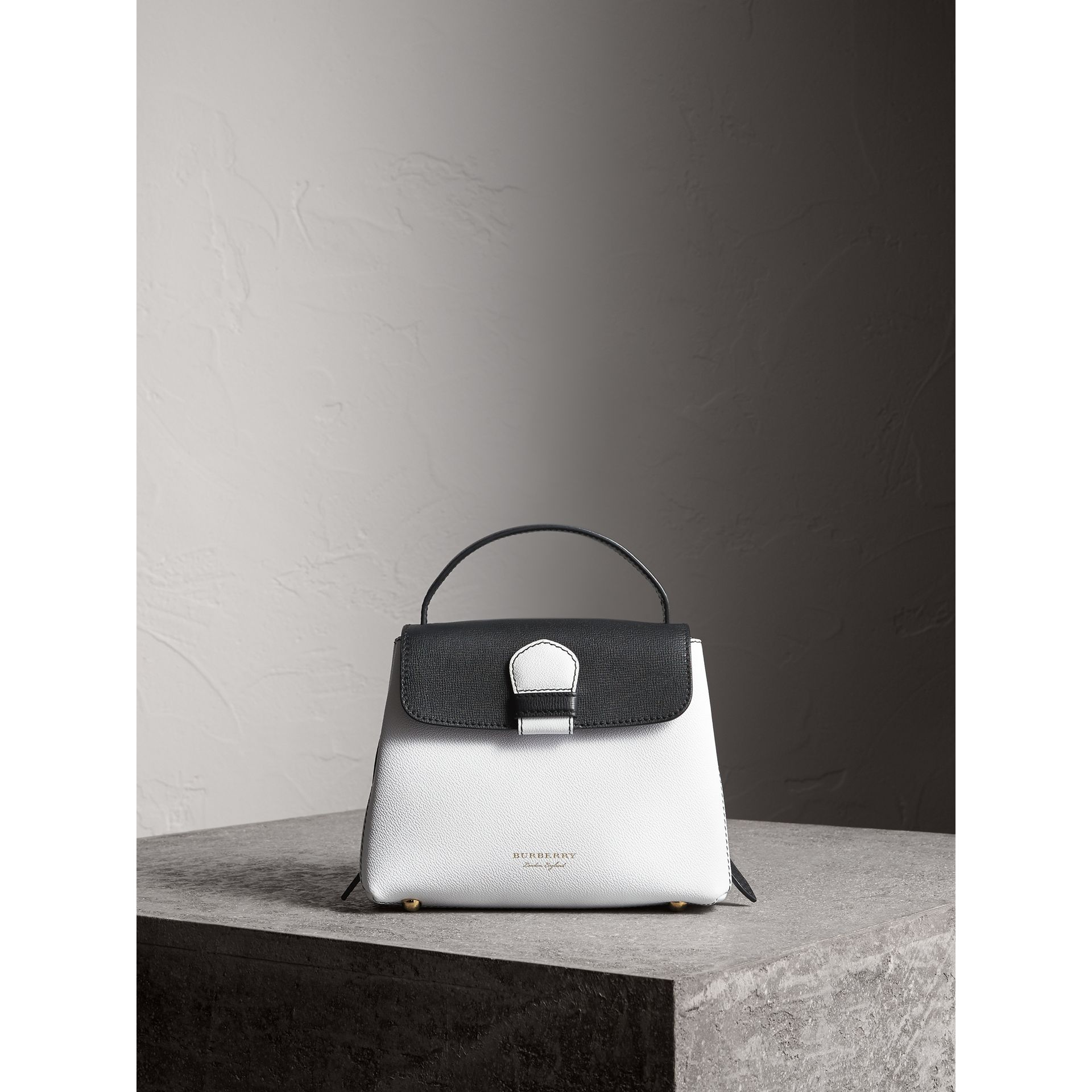 Small Two-tone Leather and House Check Tote in Chalk White/black - Women | Burberry - gallery image 6