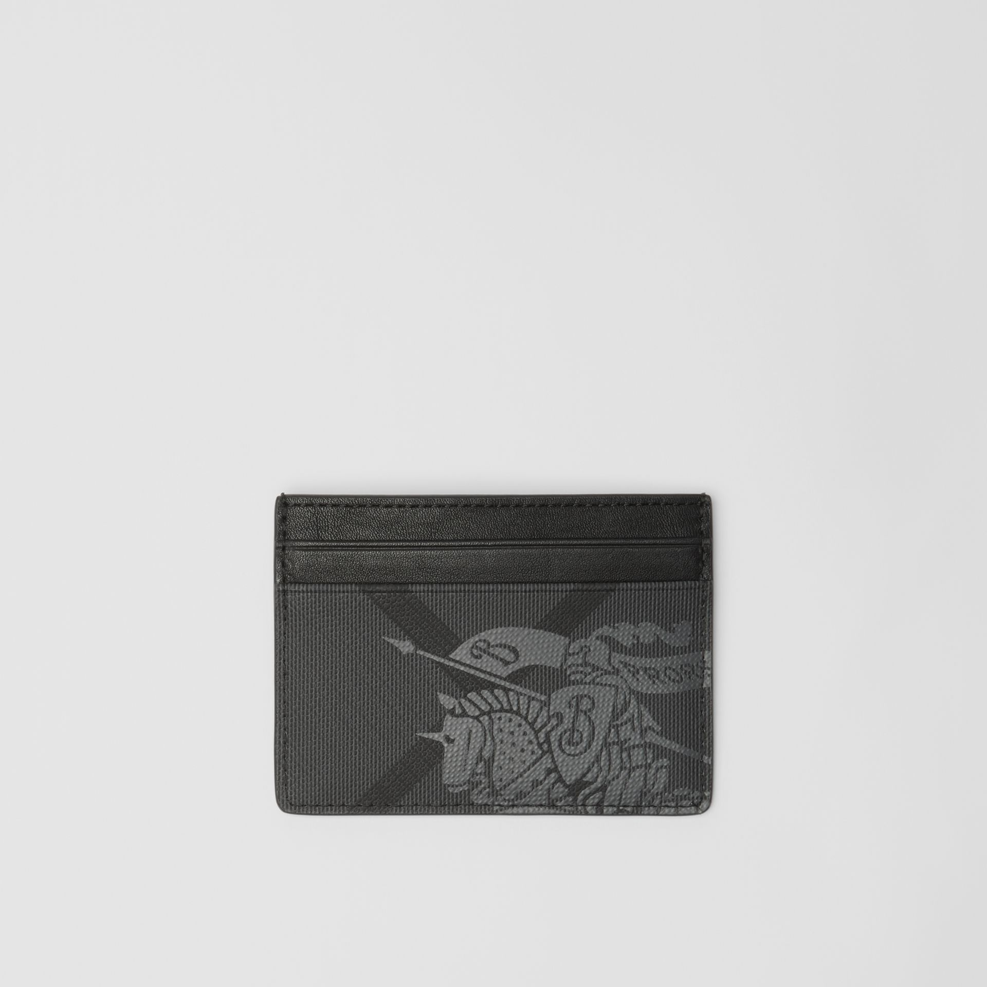 EKD London Check and Leather Card Case in Charcoal/black - Men | Burberry United Kingdom - gallery image 0