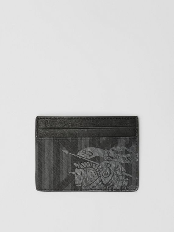 EKD London Check and Leather Card Case in Charcoal/black