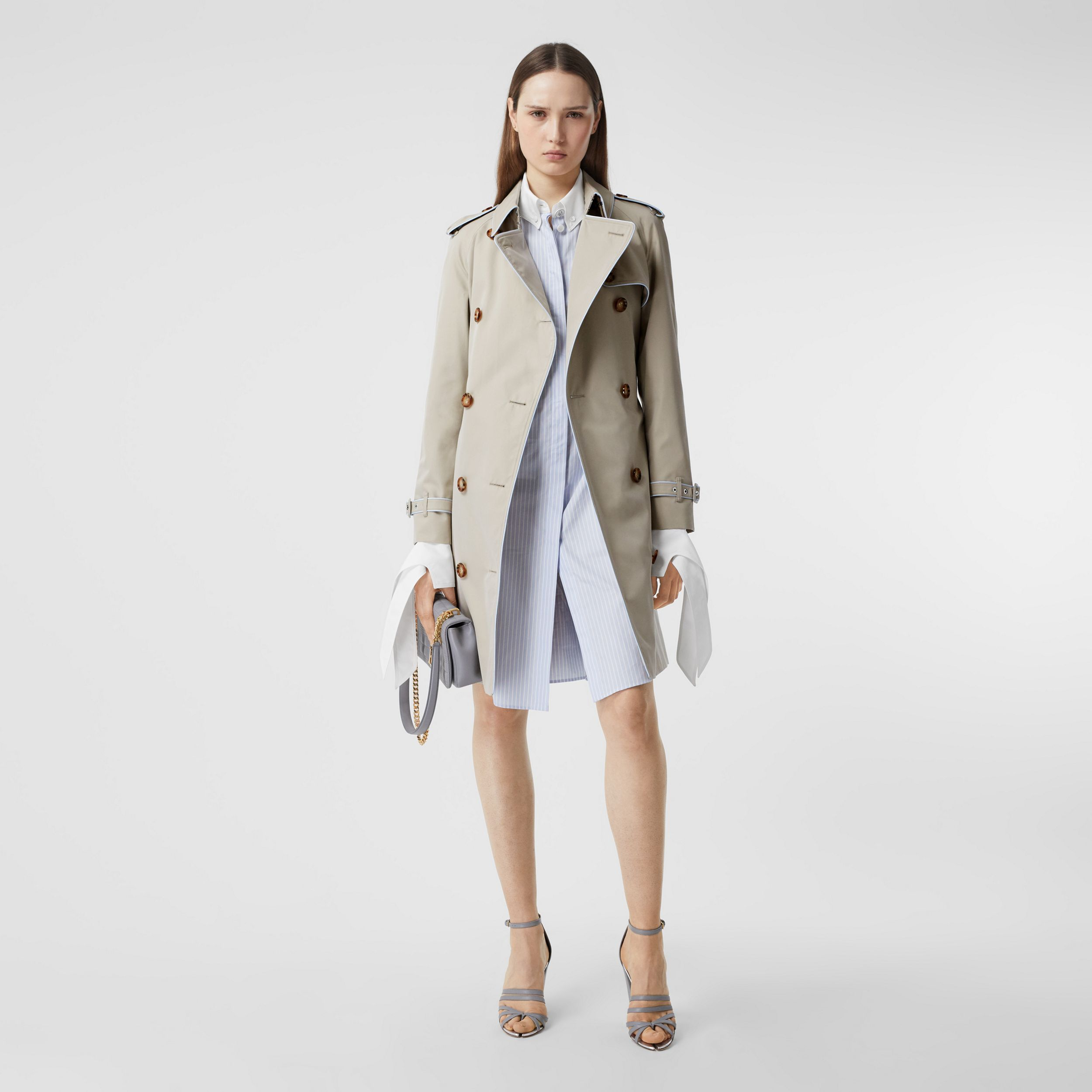 Piped Cotton Gabardine Trench Coat in Stone - Women | Burberry - 1