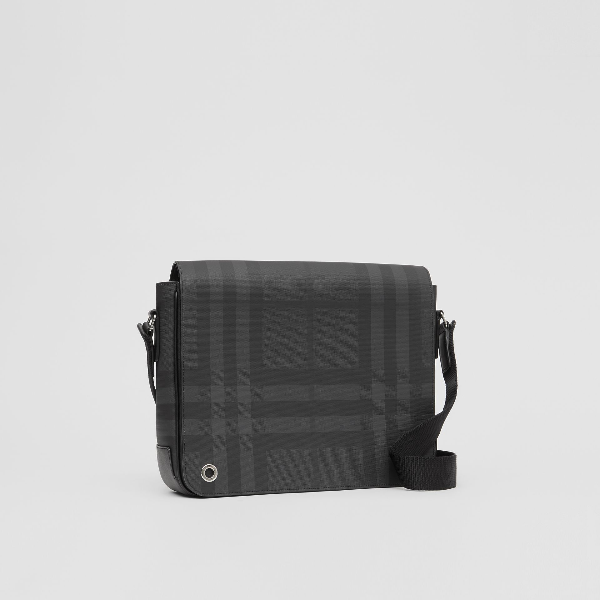 London Check and Leather Satchel in Dark Charcoal - Men | Burberry - gallery image 6
