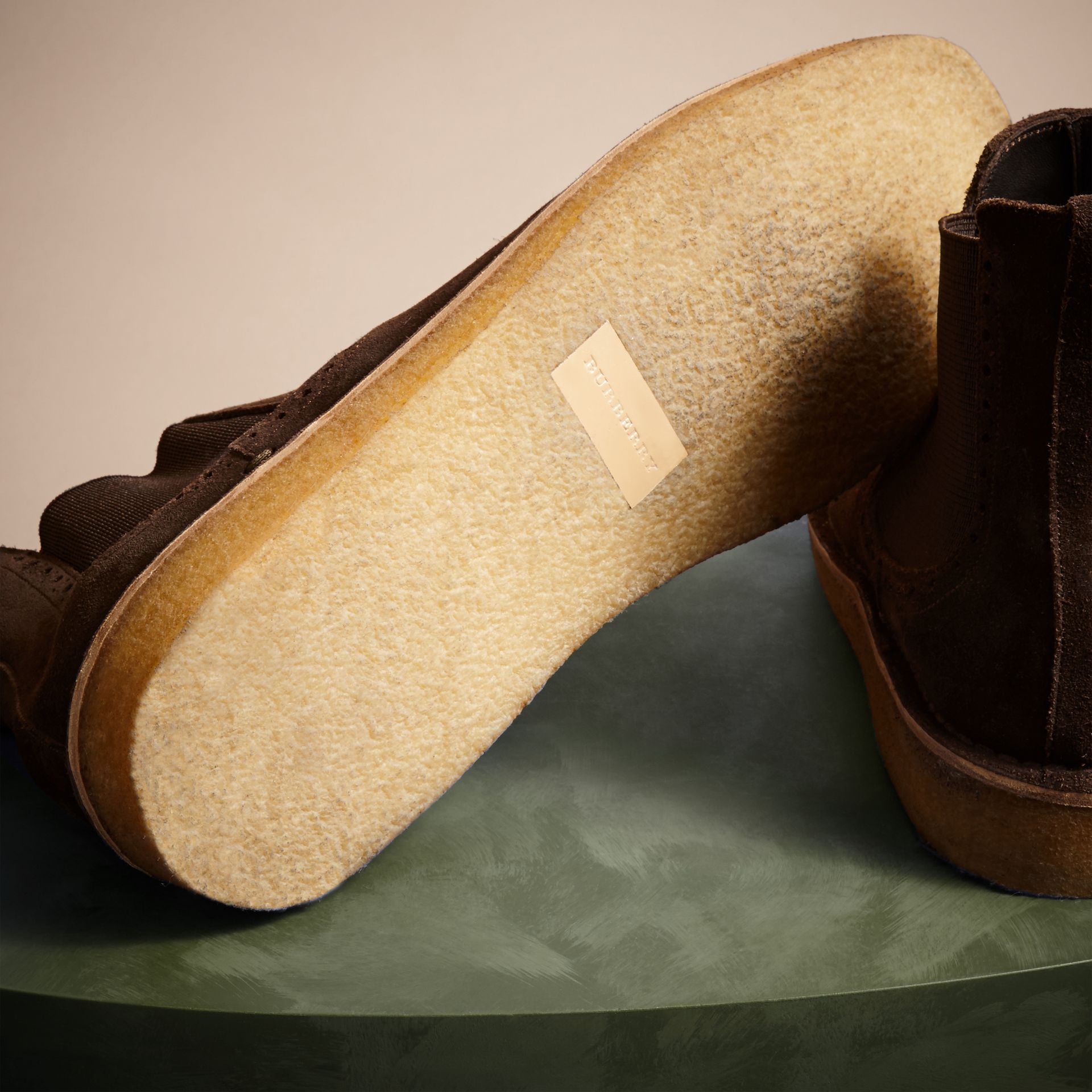 Peat brown Washed-suede Chelsea Boots with Crepe Soles - gallery image 5