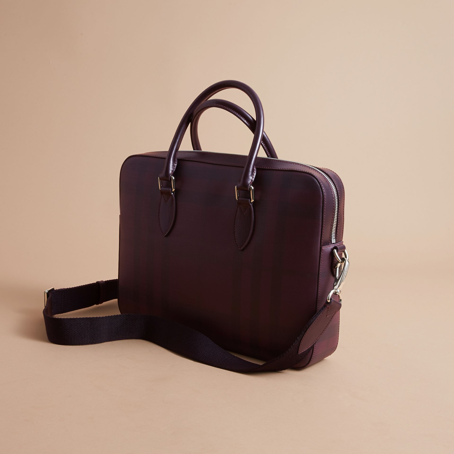 Medium Leather Trim London Check Briefcase in Deep Claret - Men | Burberry Singapore - gallery image 5