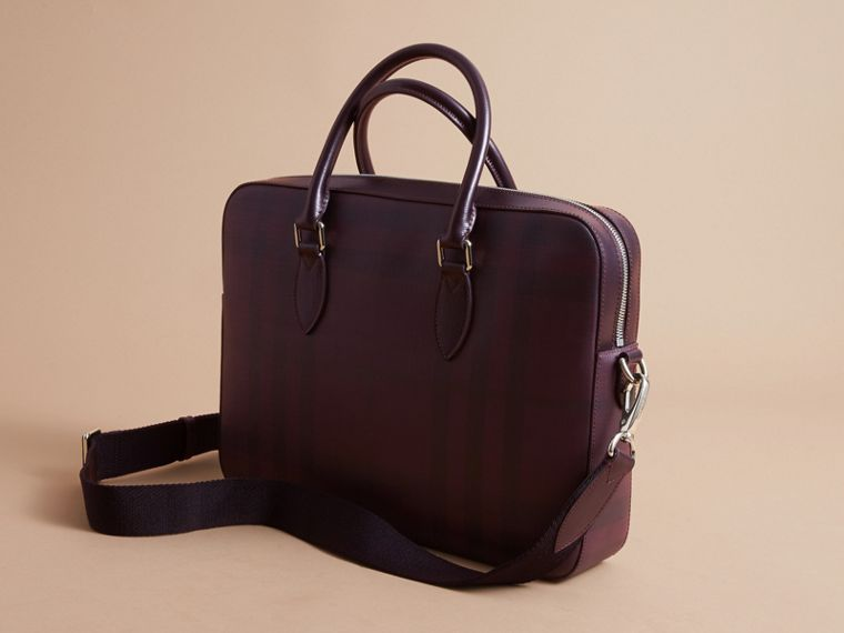 Medium Leather Trim London Check Briefcase in Deep Claret - Men | Burberry - cell image 4