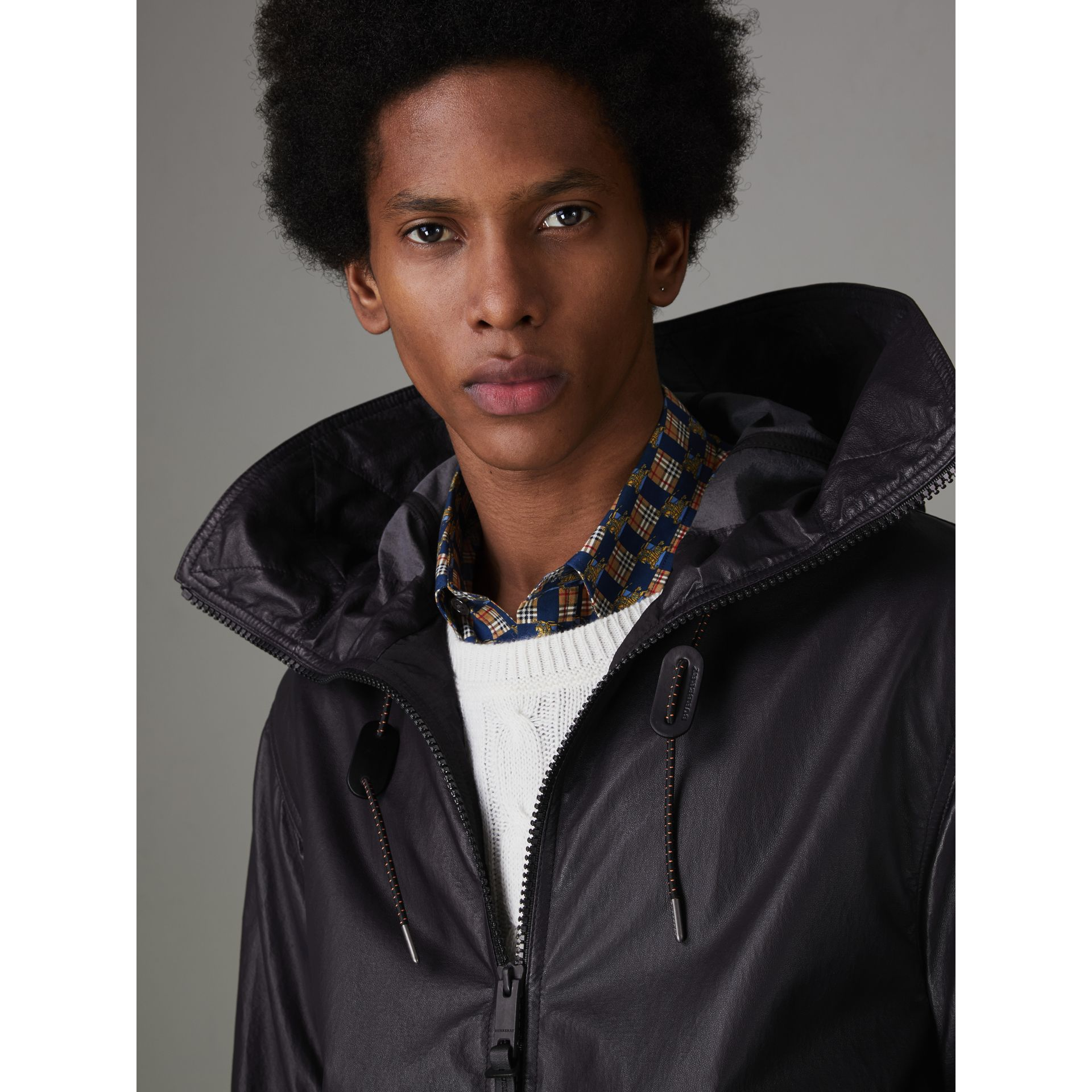 Paper-light Lambskin Hooded Jacket in True Navy - Men | Burberry - gallery image 1