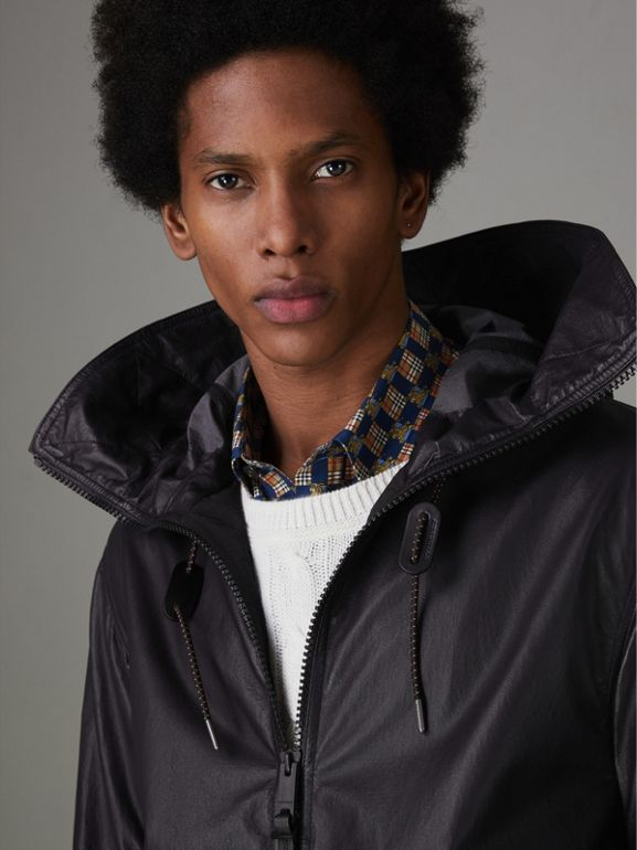 Paper-light Lambskin Hooded Jacket in True Navy - Men | Burberry - cell image 1