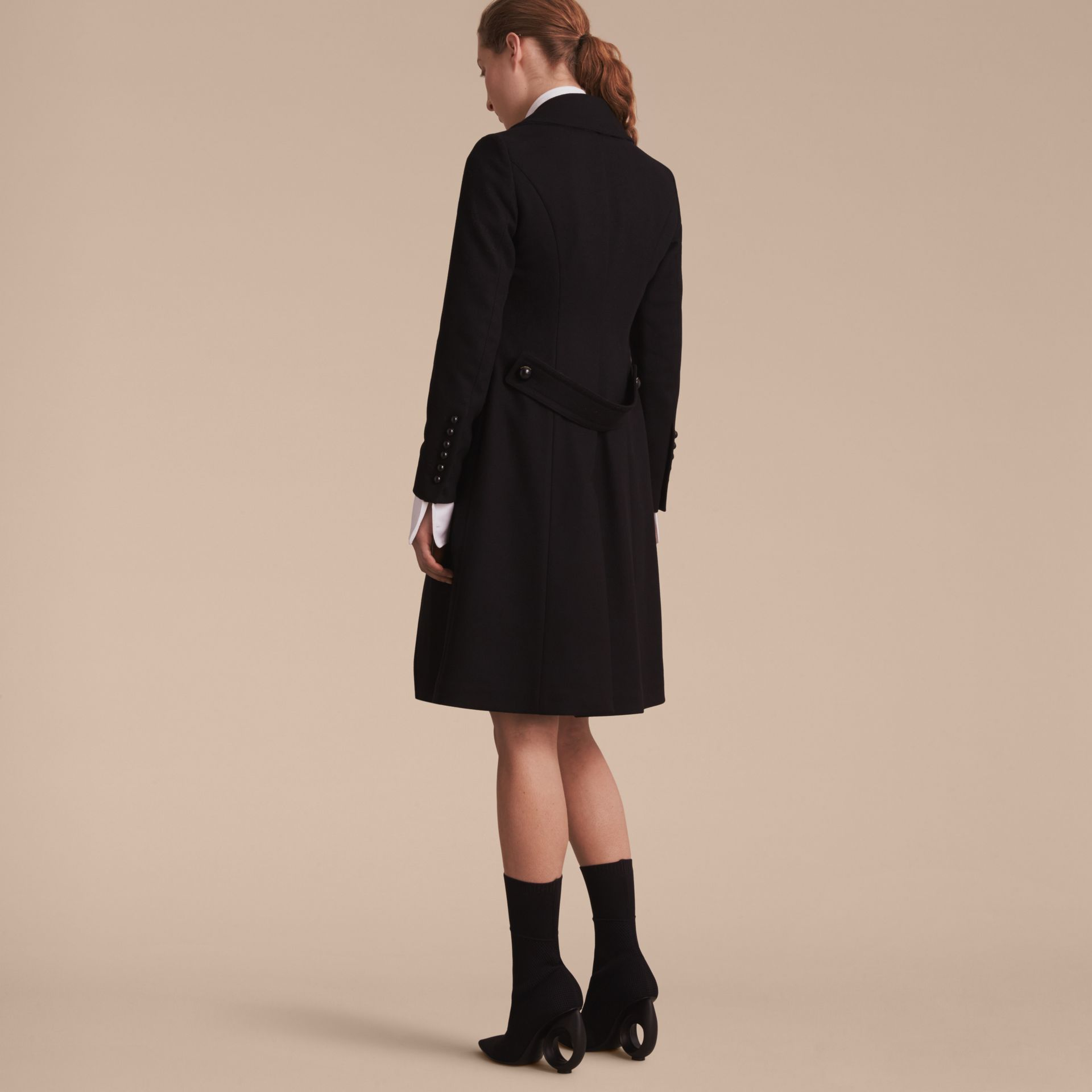 Wool Blend Double-breasted Coat in Black - Women | Burberry Singapore - gallery image 3