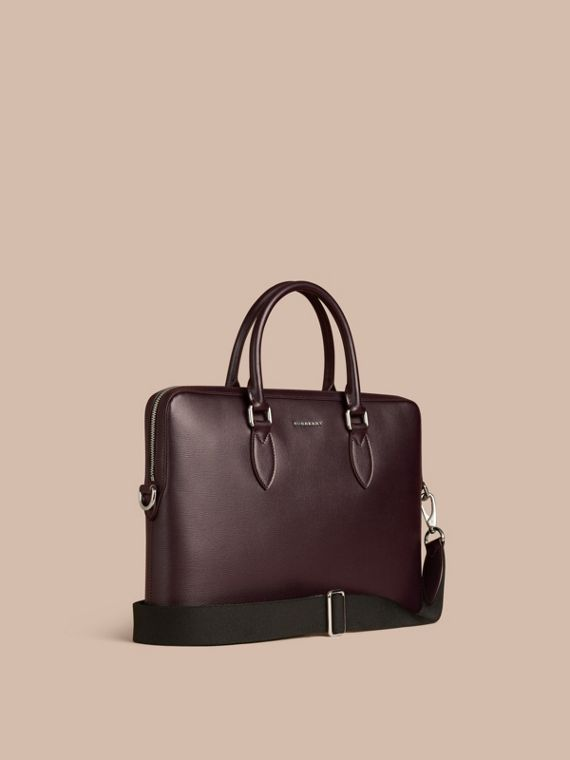 Sac The Barrow fin en cuir London Lie-de-vin