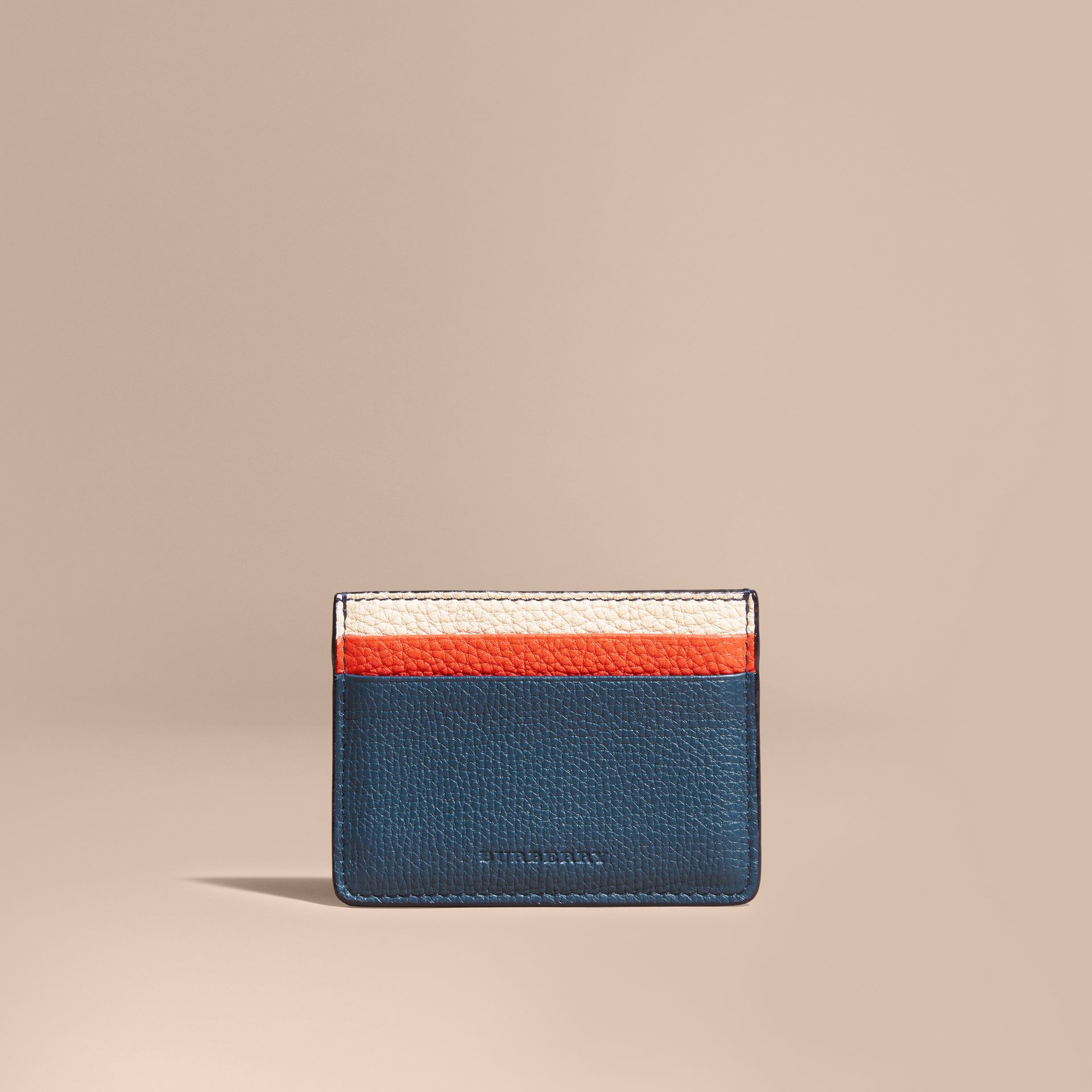 Marine blue Colour Block Leather Card Case - gallery image 3