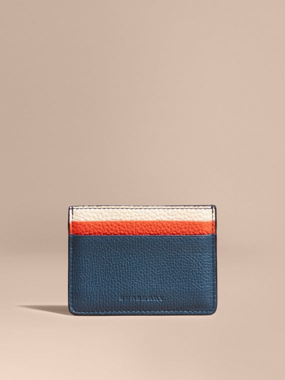 Marine blue Colour Block Leather Card Case - cell image 2
