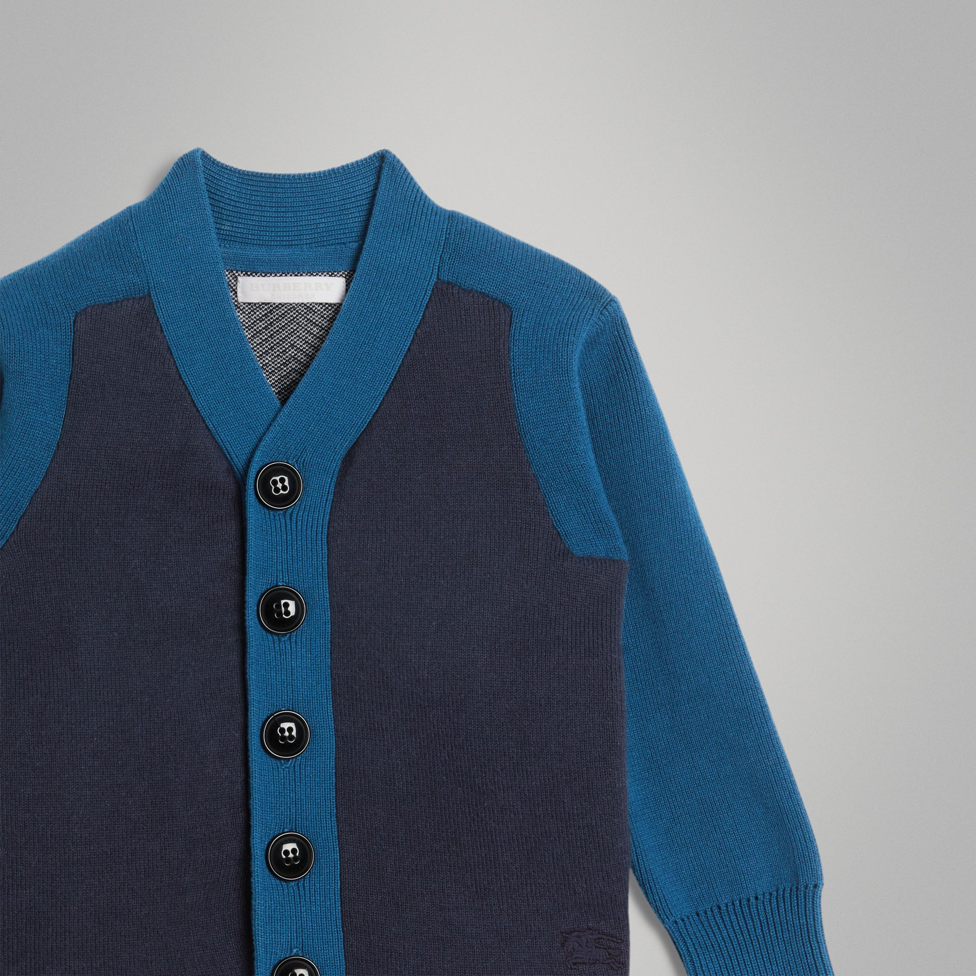 Colour Block Cotton Cardigan in Navy | Burberry - gallery image 4
