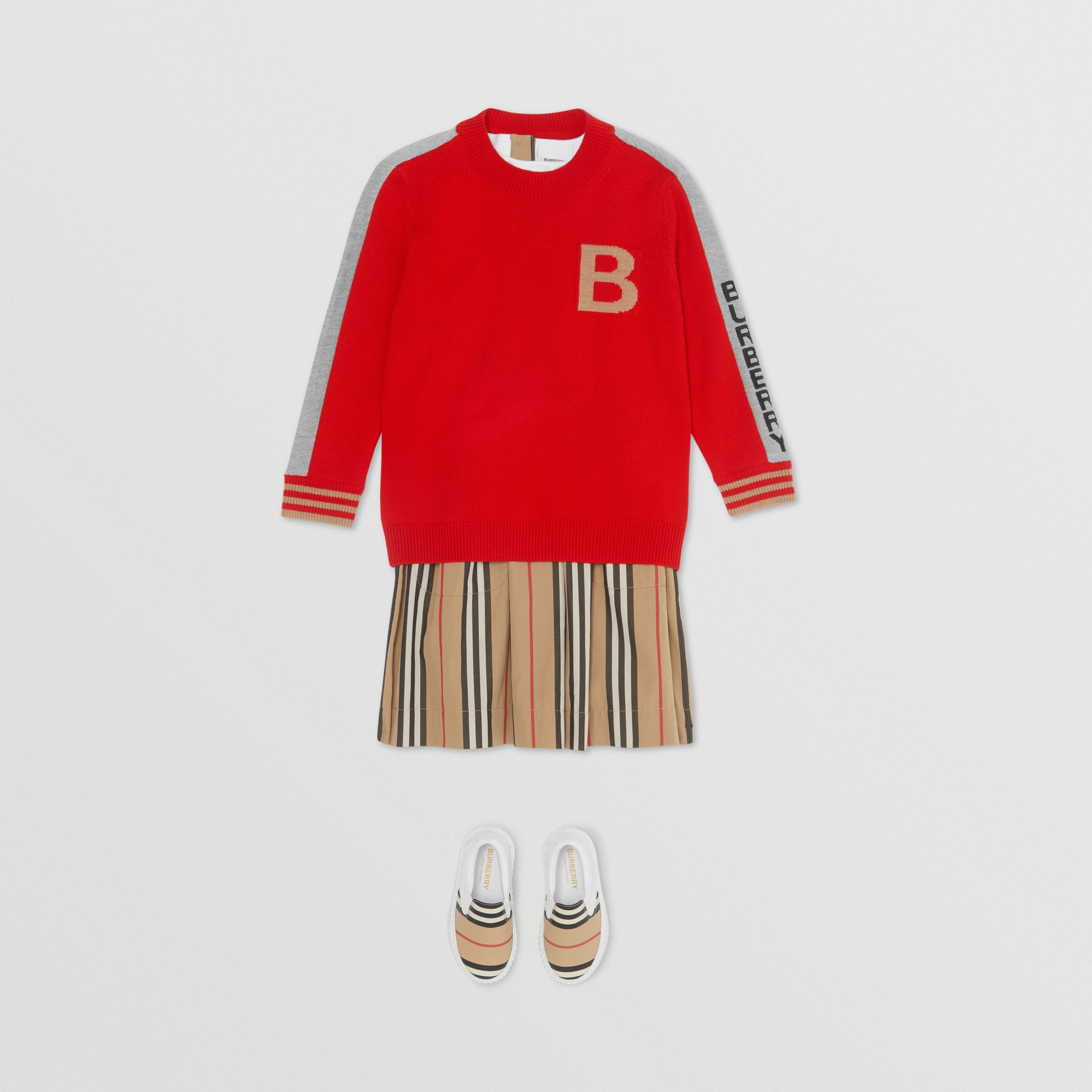 B Motif Merino Wool Jacquard Sweater in Bright Red | Burberry - 3