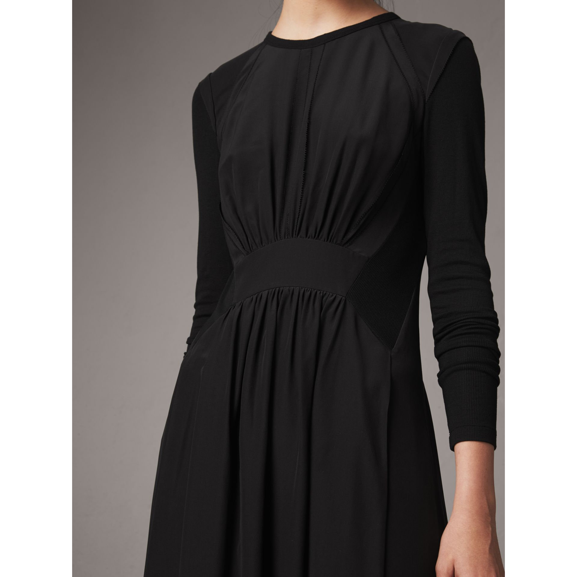 Long-sleeve Silk Gathered Dress in Black - Women | Burberry - gallery image 2