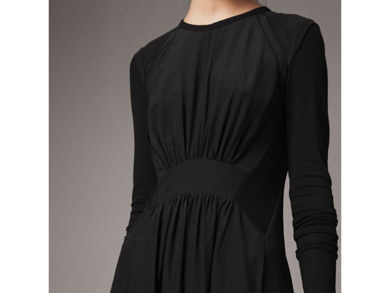 Long-sleeve Silk Gathered Dress in Black - Women | Burberry - cell image 1