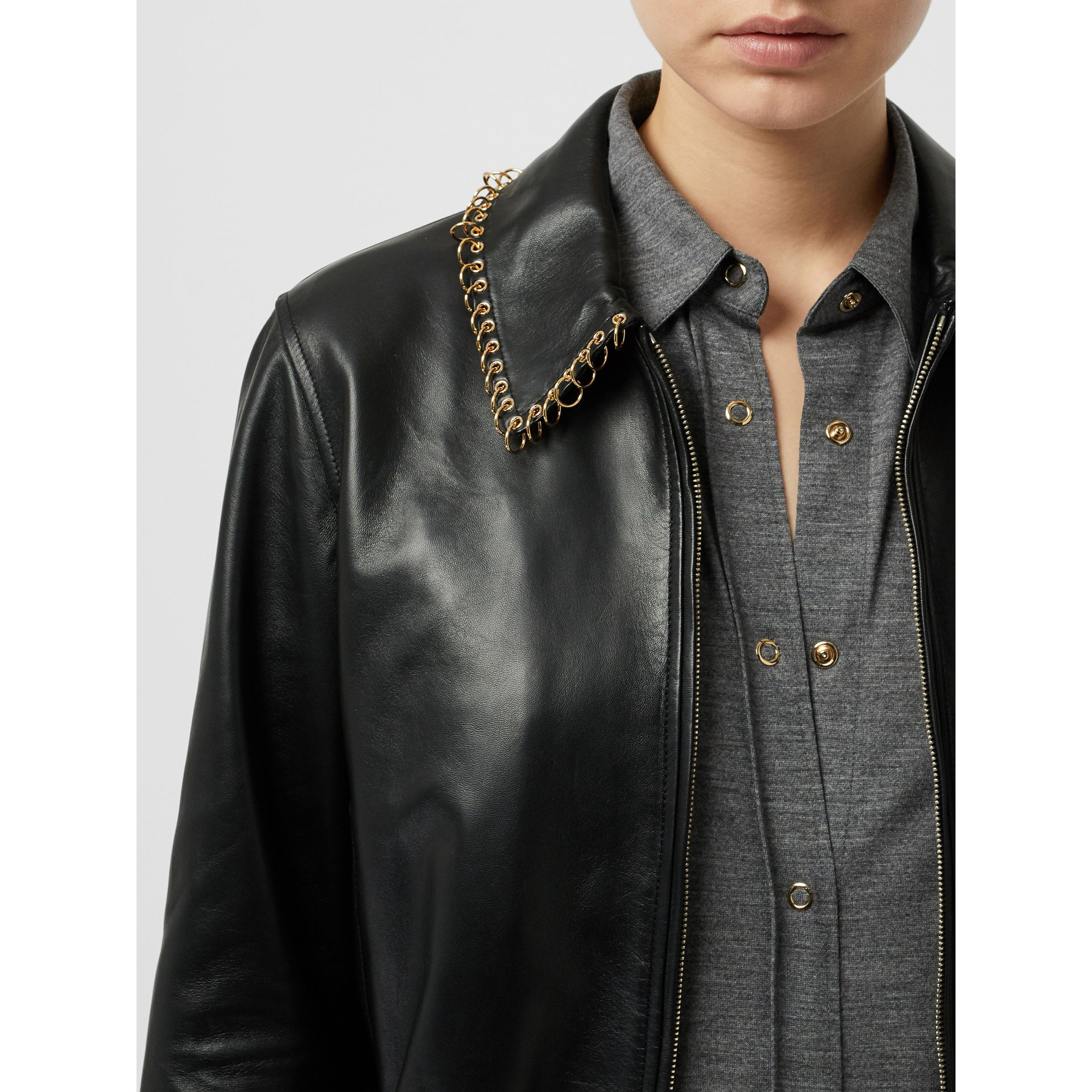 Ring-pierced Lambskin Jacket in Black - Women | Burberry - gallery image 5