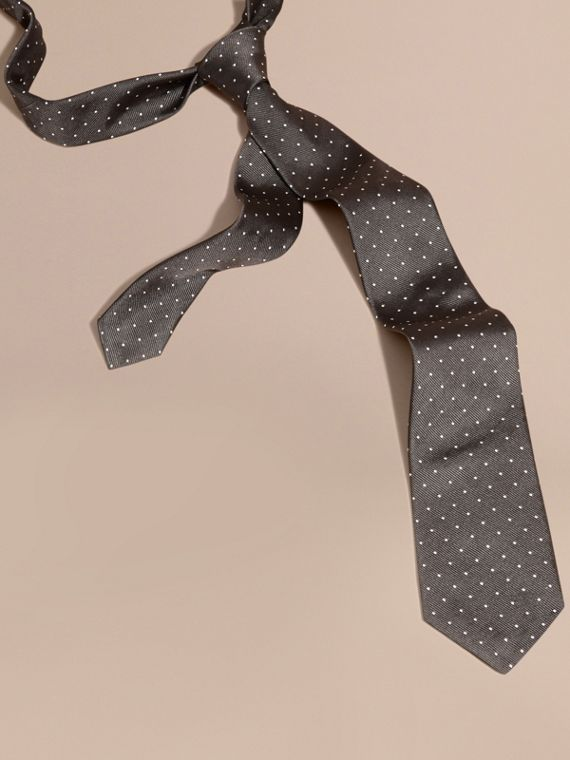 Charcoal Modern Cut Polka Dot Silk Tie Charcoal - cell image 2