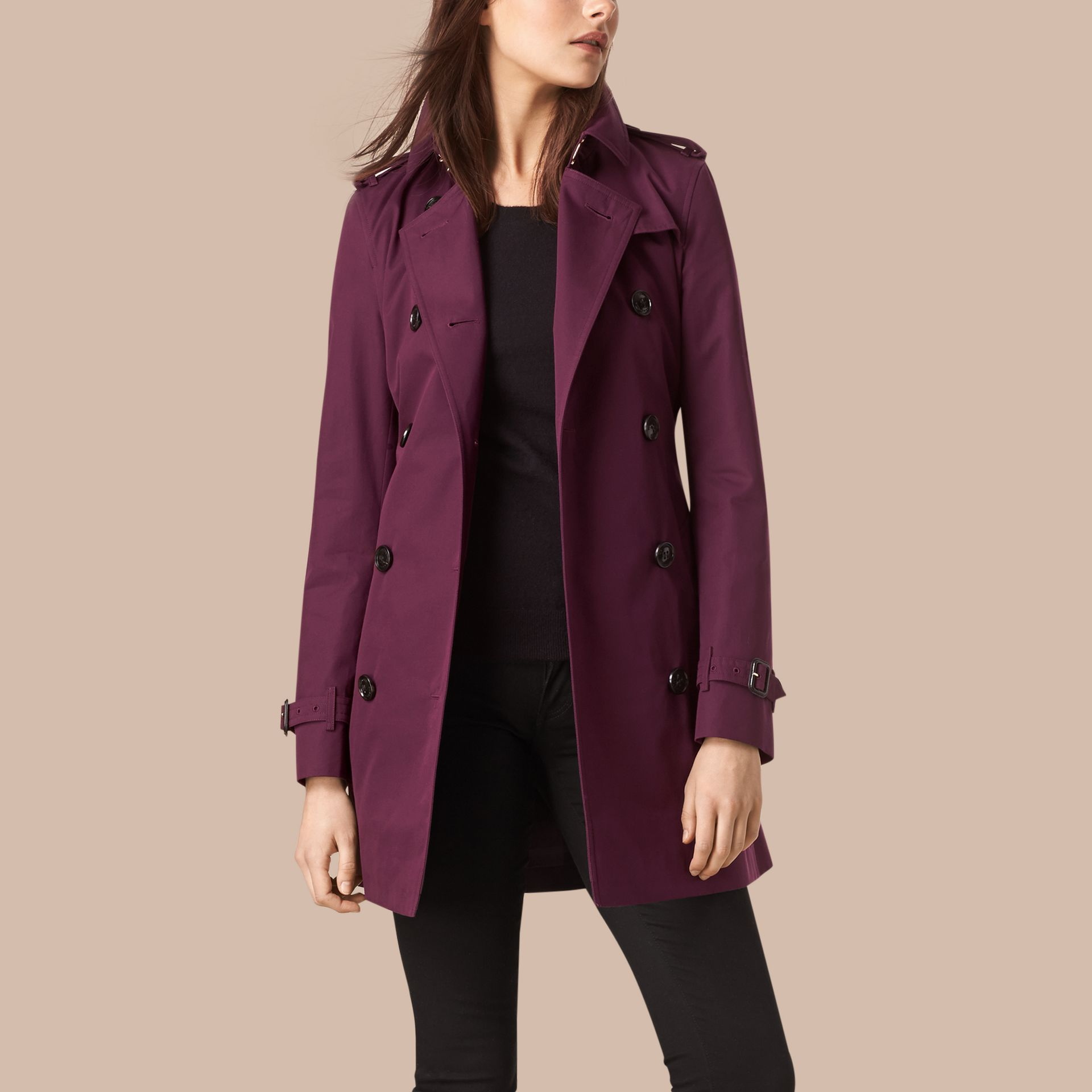 Bright burgundy Lightweight Cotton Gabardine Trench Coat - gallery image 6