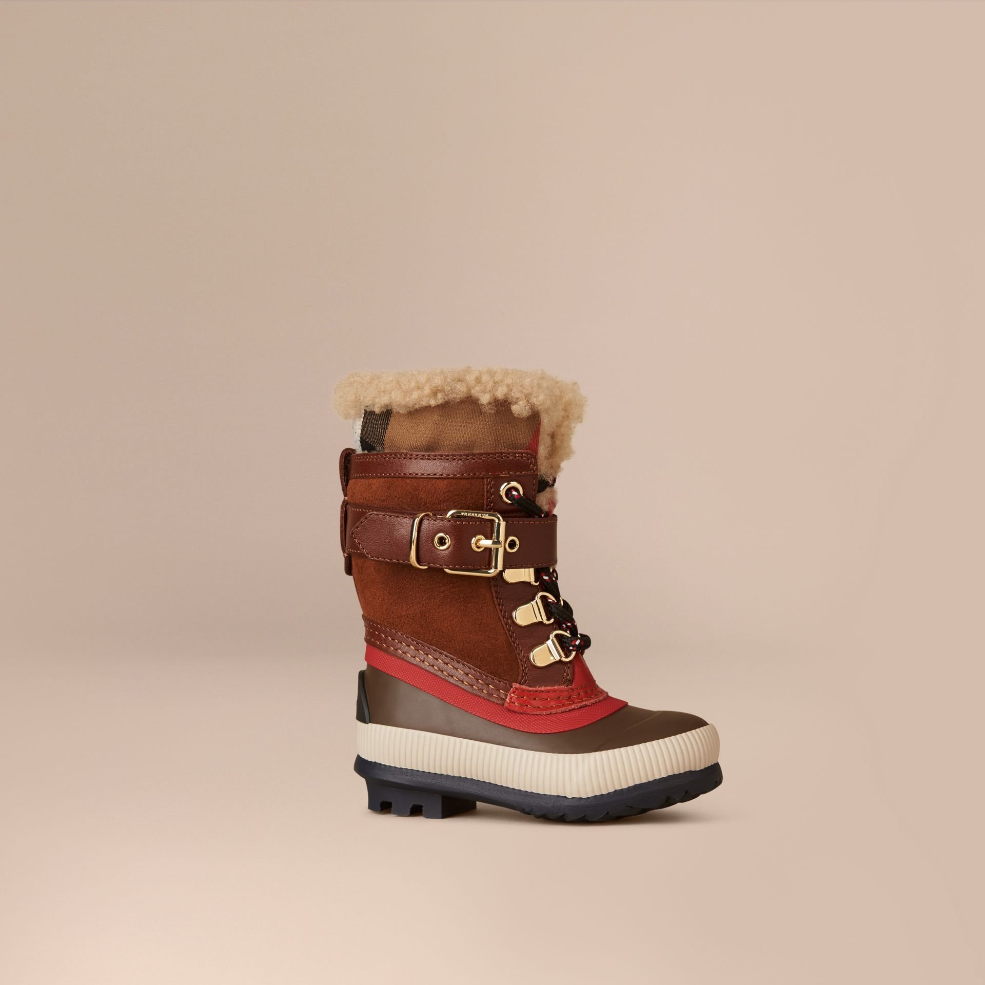 House check/khaki House Check and Suede Trim Shearling Boots - gallery image 1