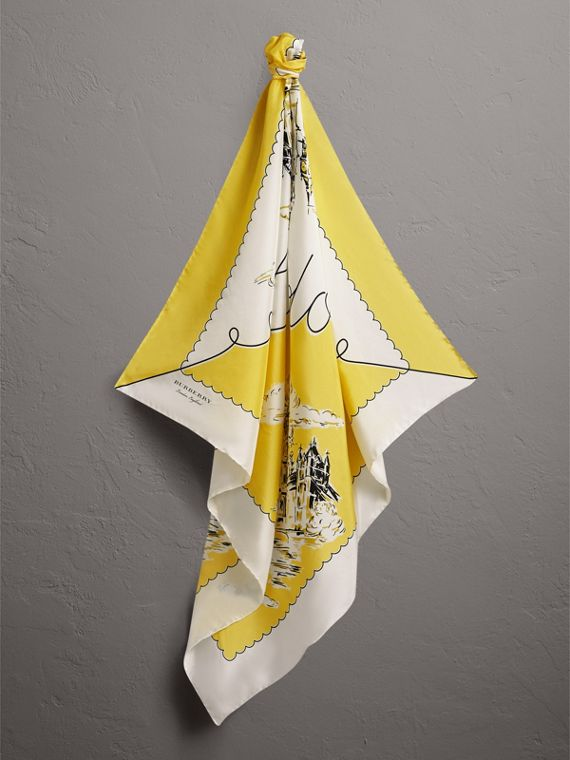 London Print Silk Square Scarf in Bright Yellow - Women | Burberry - cell image 3