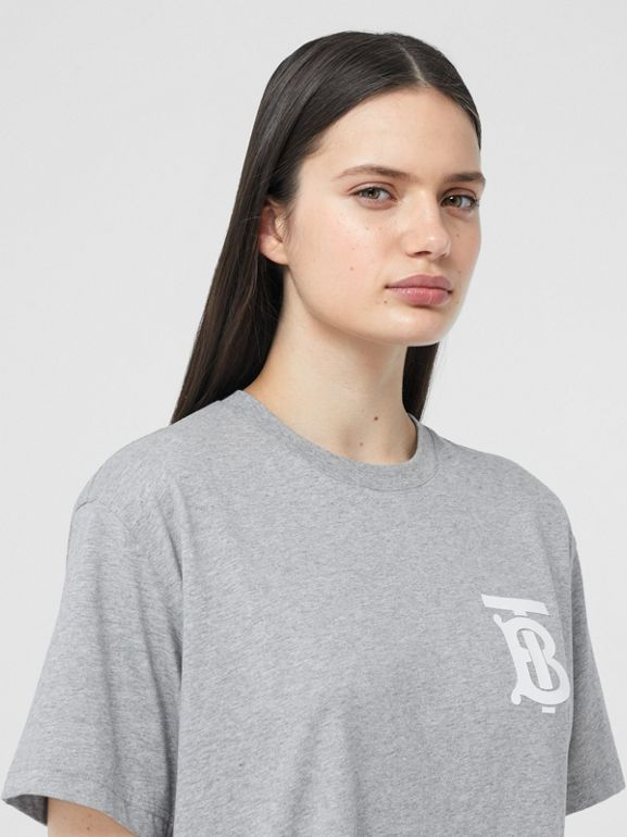 Monogram Motif Cotton Oversized T-shirt in Pale Grey Melange - Women | Burberry - cell image 1