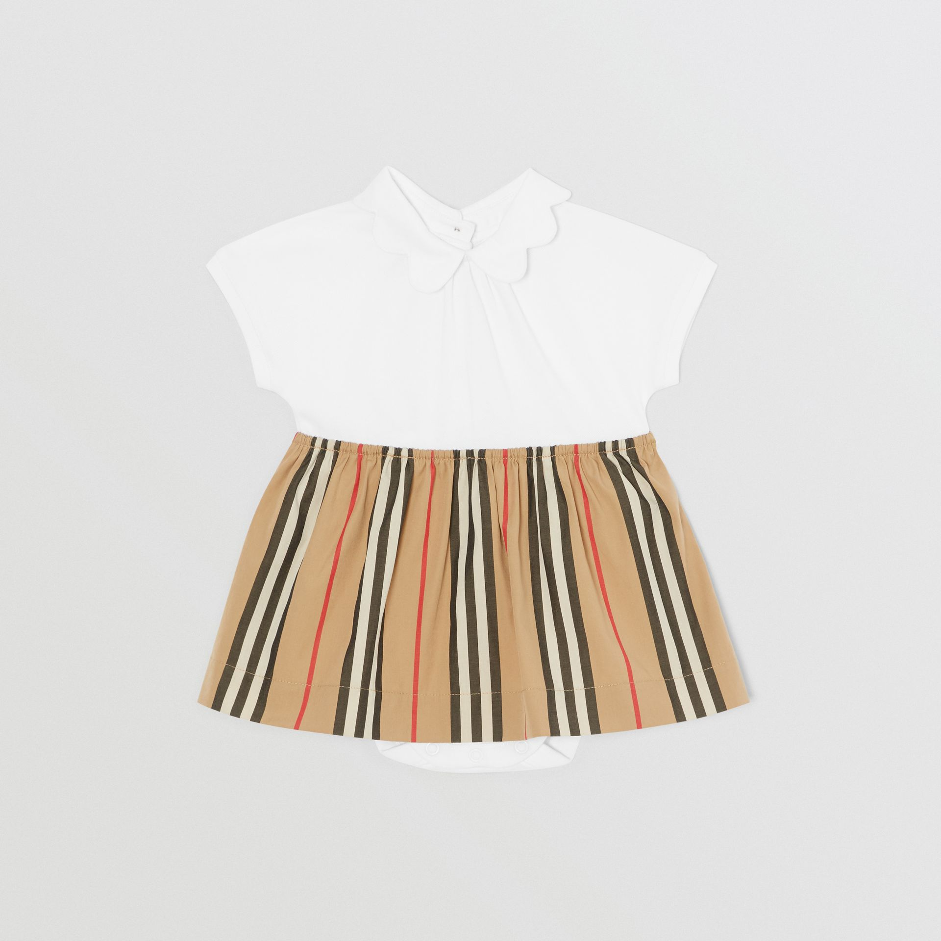 Icon Stripe Skirt Cotton Piqué Bodysuit in White - Children | Burberry United States - gallery image 0