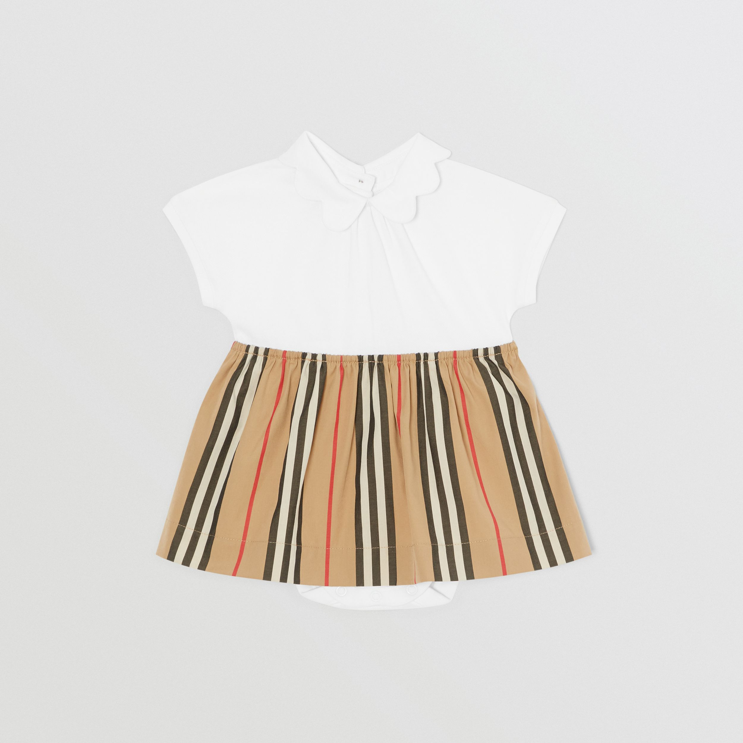 Icon Stripe Skirt Cotton Piqué Bodysuit in White - Children | Burberry - 1
