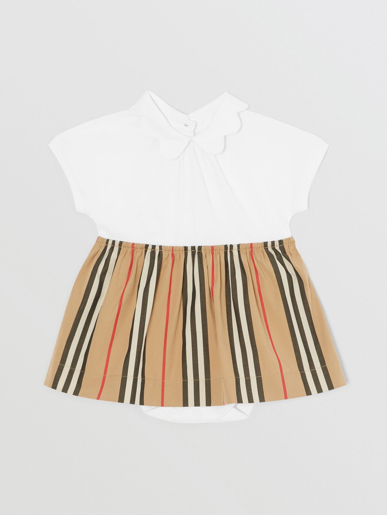 Icon Stripe Skirt Cotton Piqué Bodysuit (White)
