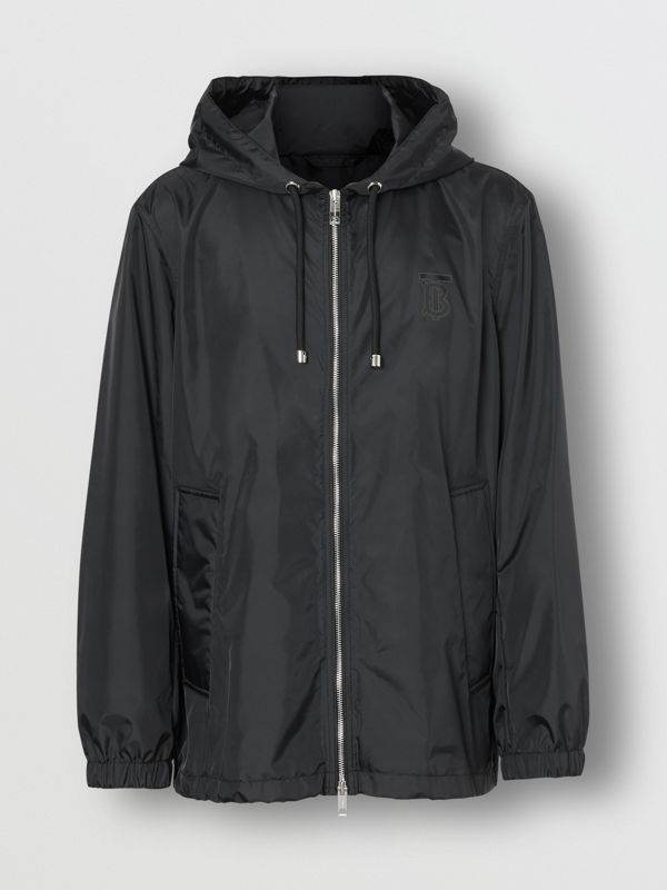 Monogram Motif Lightweight Hooded Jacket in Black - Men | Burberry Canada - cell image 3
