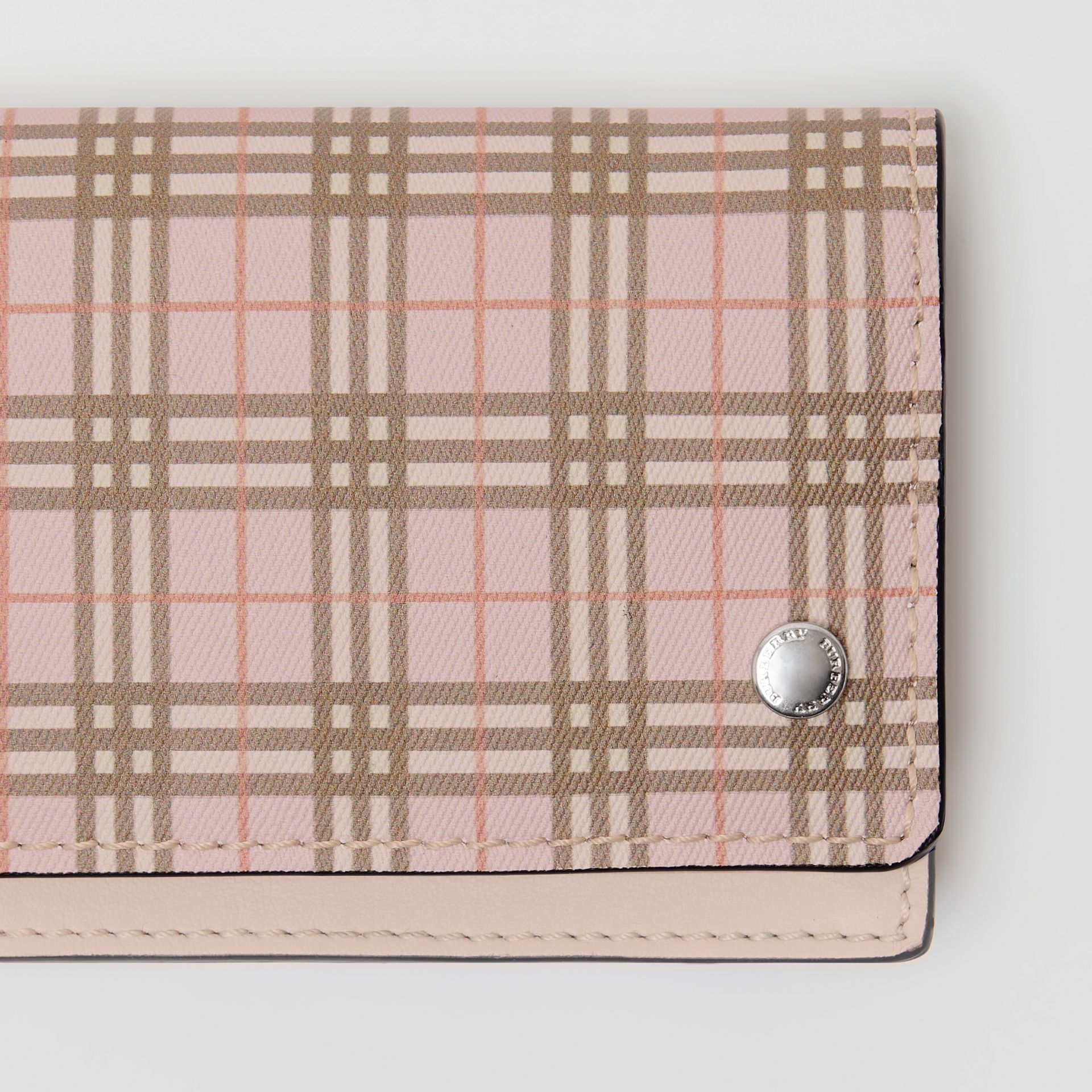 Small Scale Check and Leather Folding Card Case in Ice Pink - Women | Burberry United Kingdom - gallery image 1