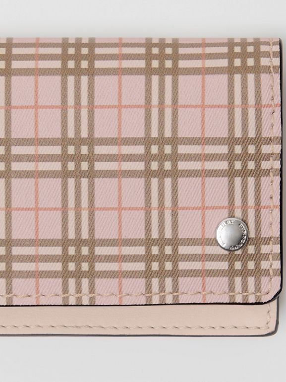 Small Scale Check and Leather Folding Card Case in Ice Pink - Women | Burberry - cell image 1