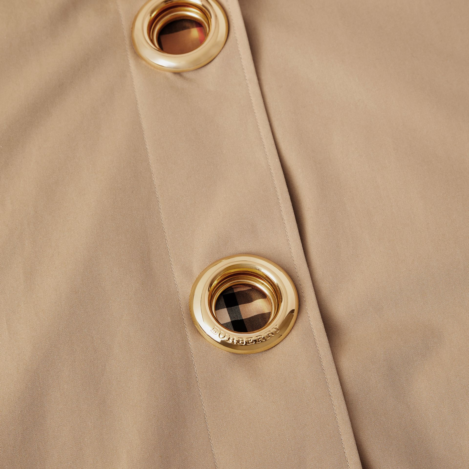 Grommet Detail Cotton Gabardine Car Coat in Honey - Women | Burberry - gallery image 4