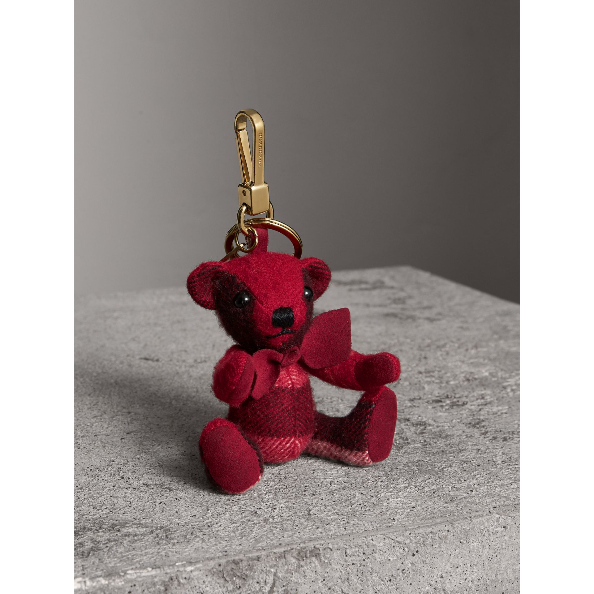 Thomas Bear Charm in Check Cashmere in Parade Red | Burberry - gallery image 1