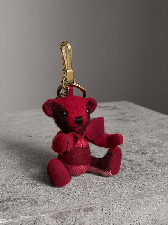 Thomas Bear Charm in Check Cashmere in Parade Red