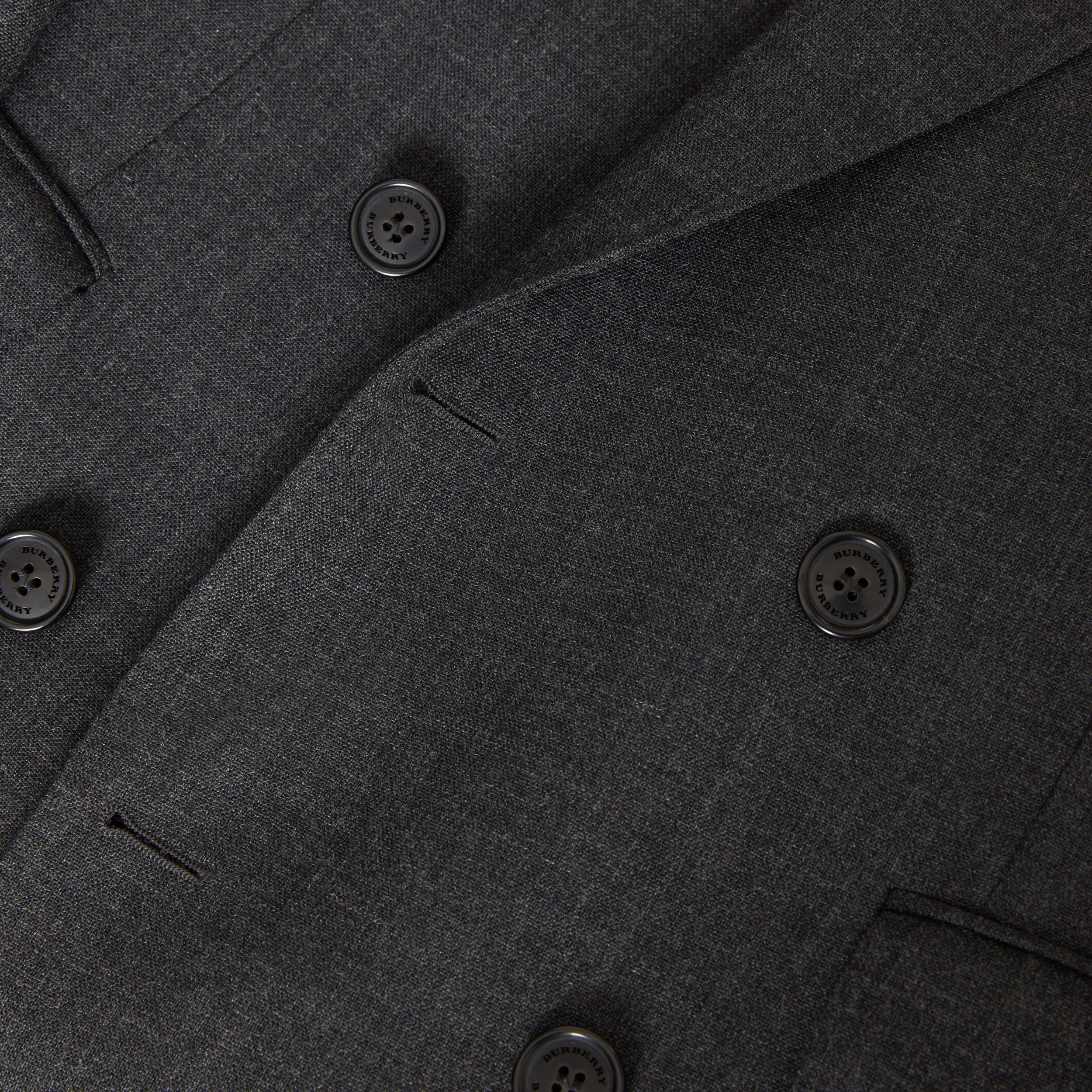 English Fit Wool Double-breasted Jacket in Dark Grey - Men | Burberry - 2