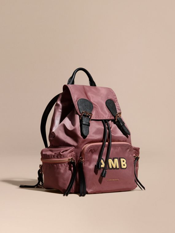 The Medium Rucksack in Technical Nylon and Leather in Mauve Pink