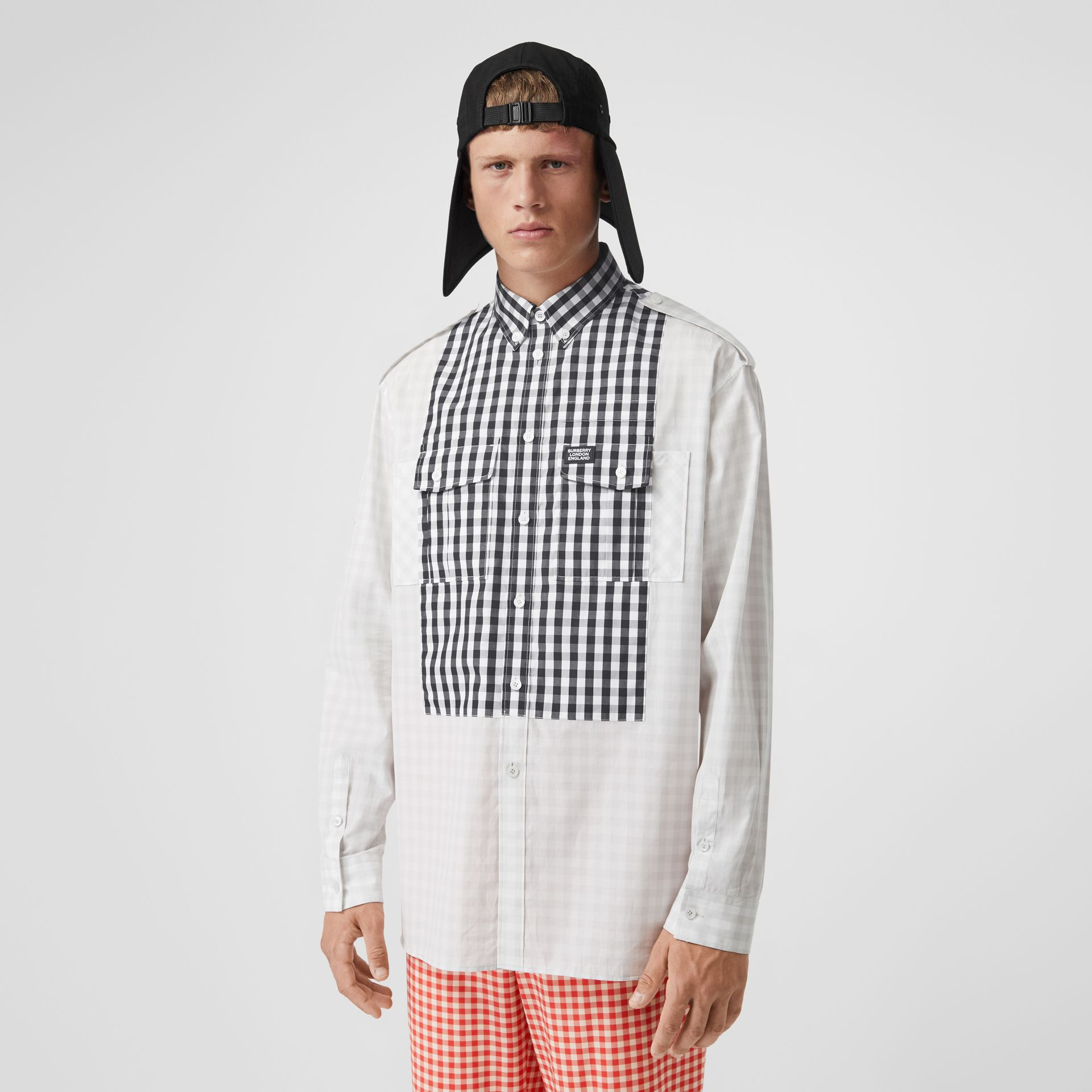 Contrast Bib Gingham Cotton Poplin Oversized Shirt in Light Pebble Grey | Burberry Singapore - gallery image 0