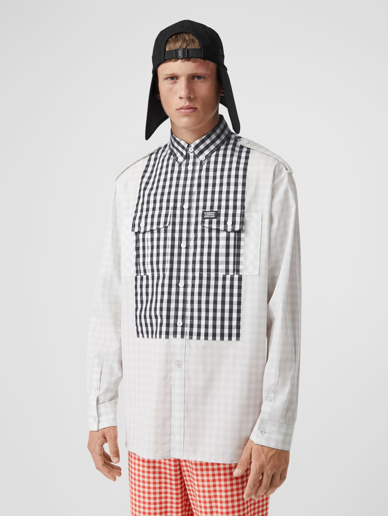 Contrast Bib Gingham Cotton Poplin Oversized Shirt in Light Pebble Grey