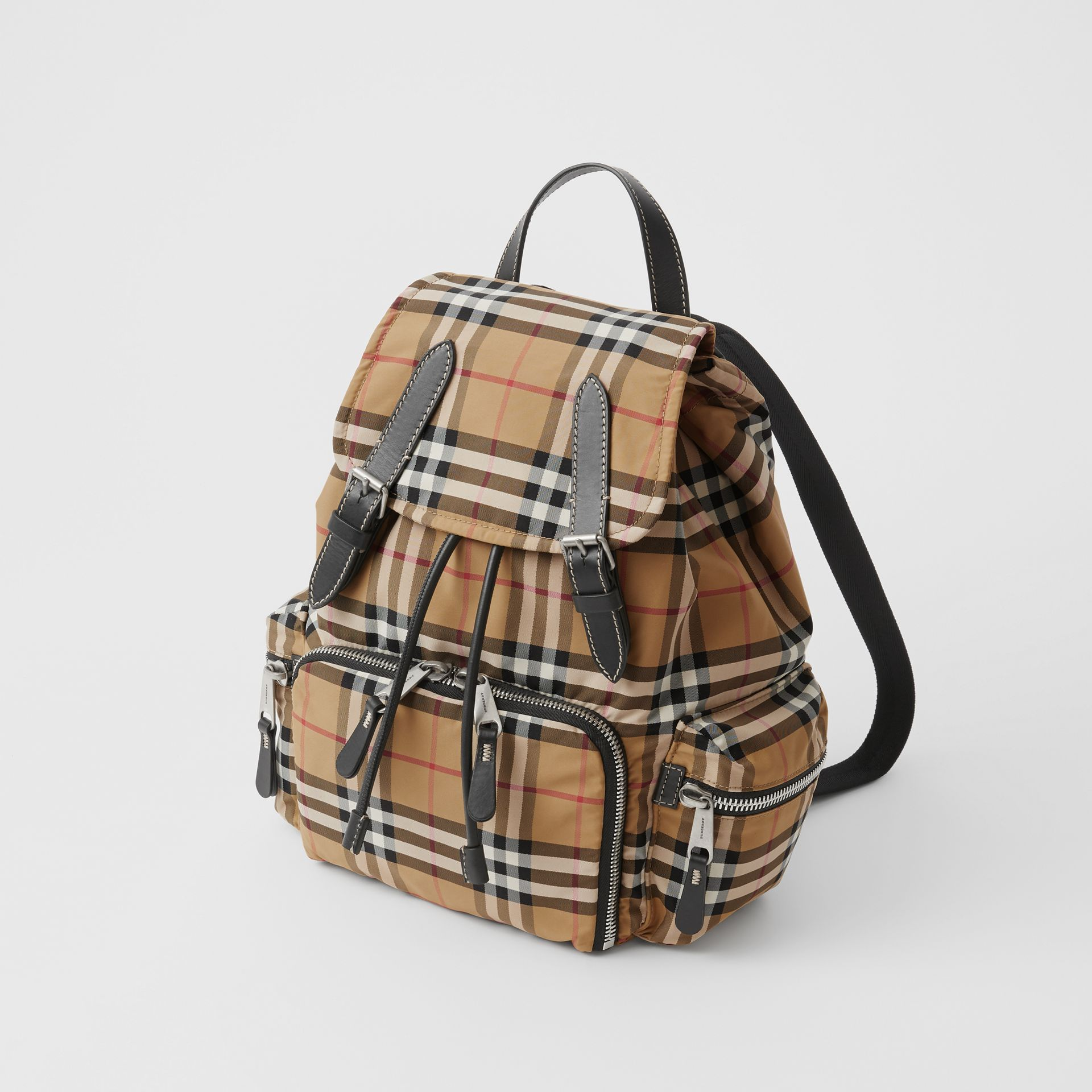 The Medium Rucksack in Vintage Check Nylon in Antique Yellow - Women | Burberry Singapore - gallery image 4