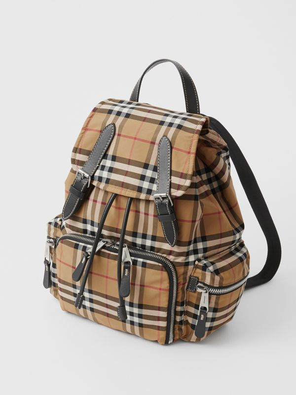 The Medium Rucksack in Vintage Check Nylon in Antique Yellow - Women | Burberry United States - cell image 2