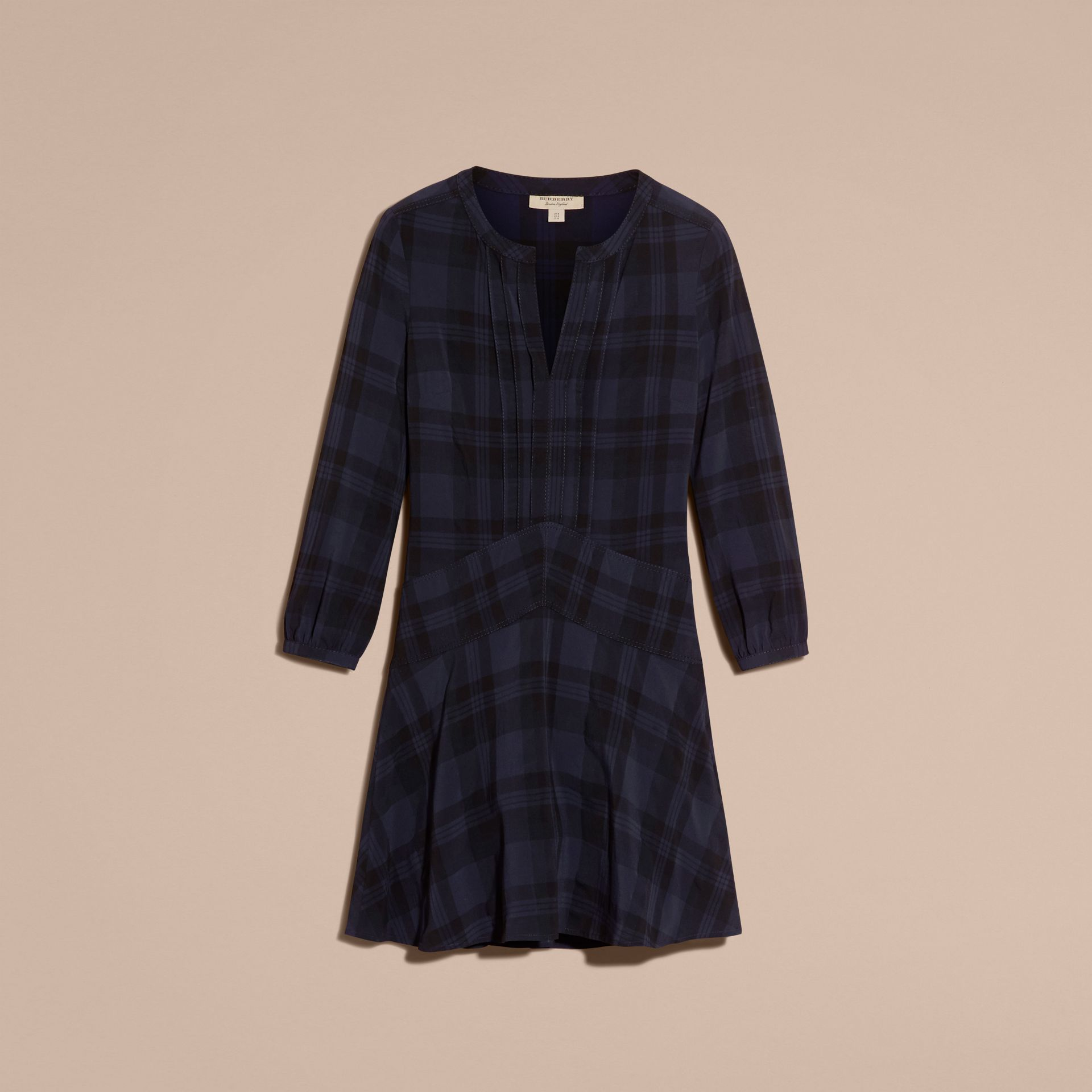 Ink blue Check Technical Cotton A-line Dress - gallery image 4