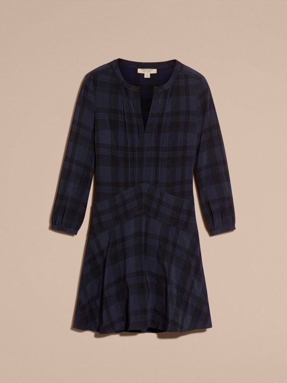 Ink blue Check Technical Cotton A-line Dress - cell image 3