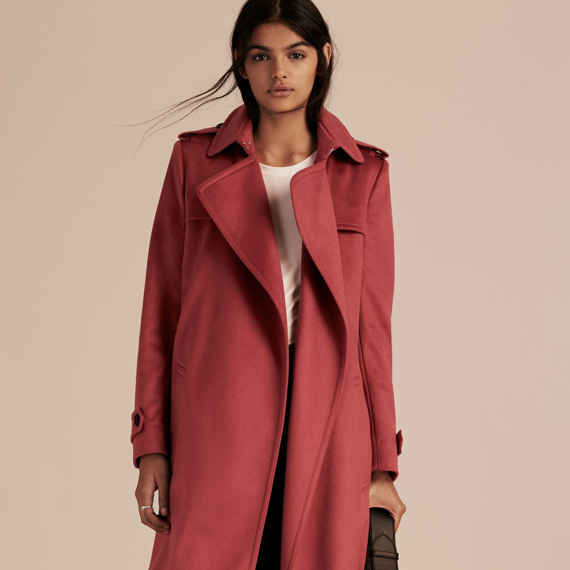 Dusty peony rose Cashmere Wrap Trench Coat Dusty Peony Rose - gallery image 7