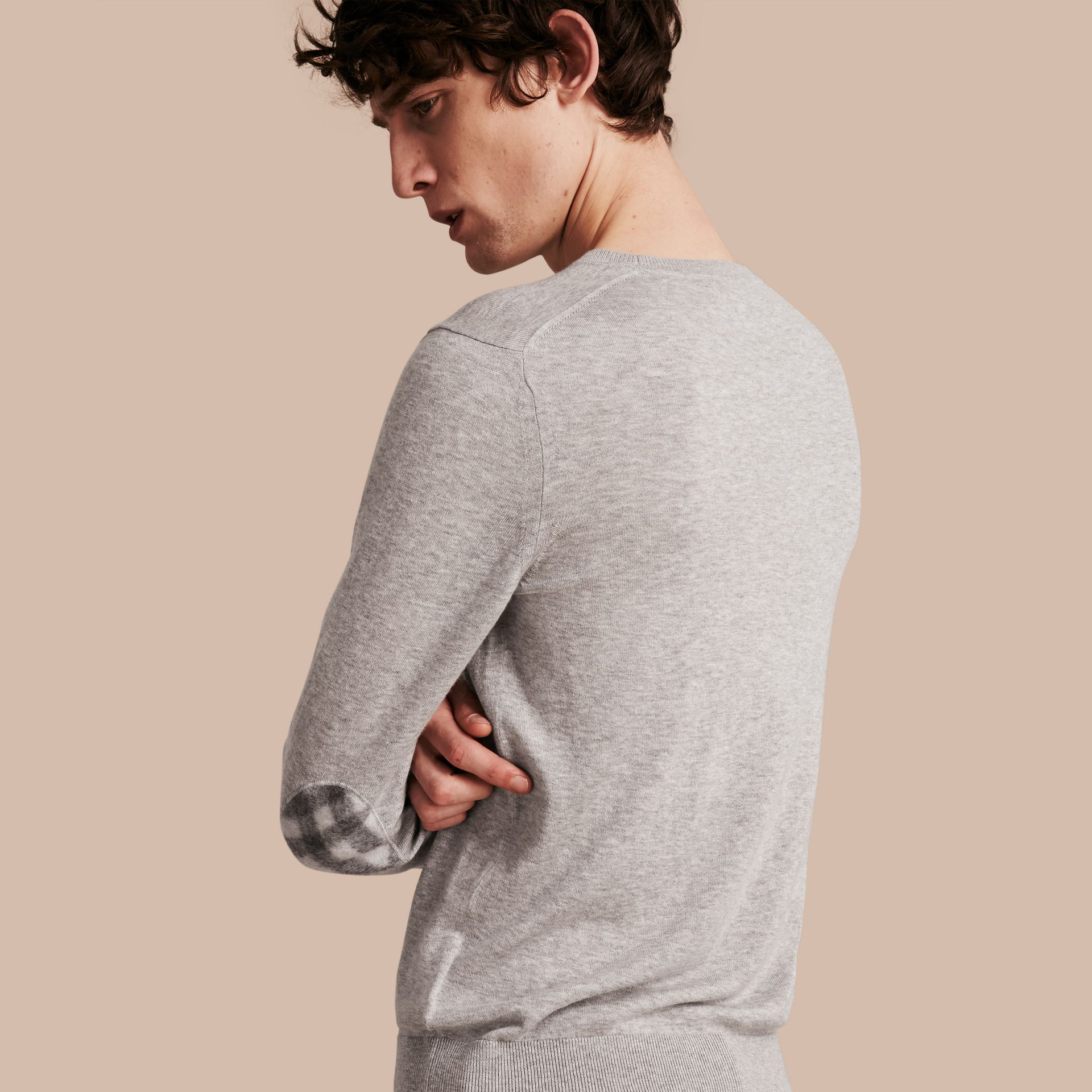 Check Trim Cashmere Cotton Sweater in Pale Grey Melange - gallery image 1