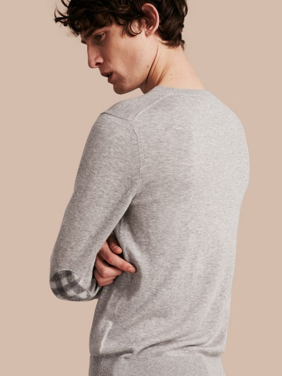 Check Trim Cashmere Cotton Sweater in Pale Grey Melange