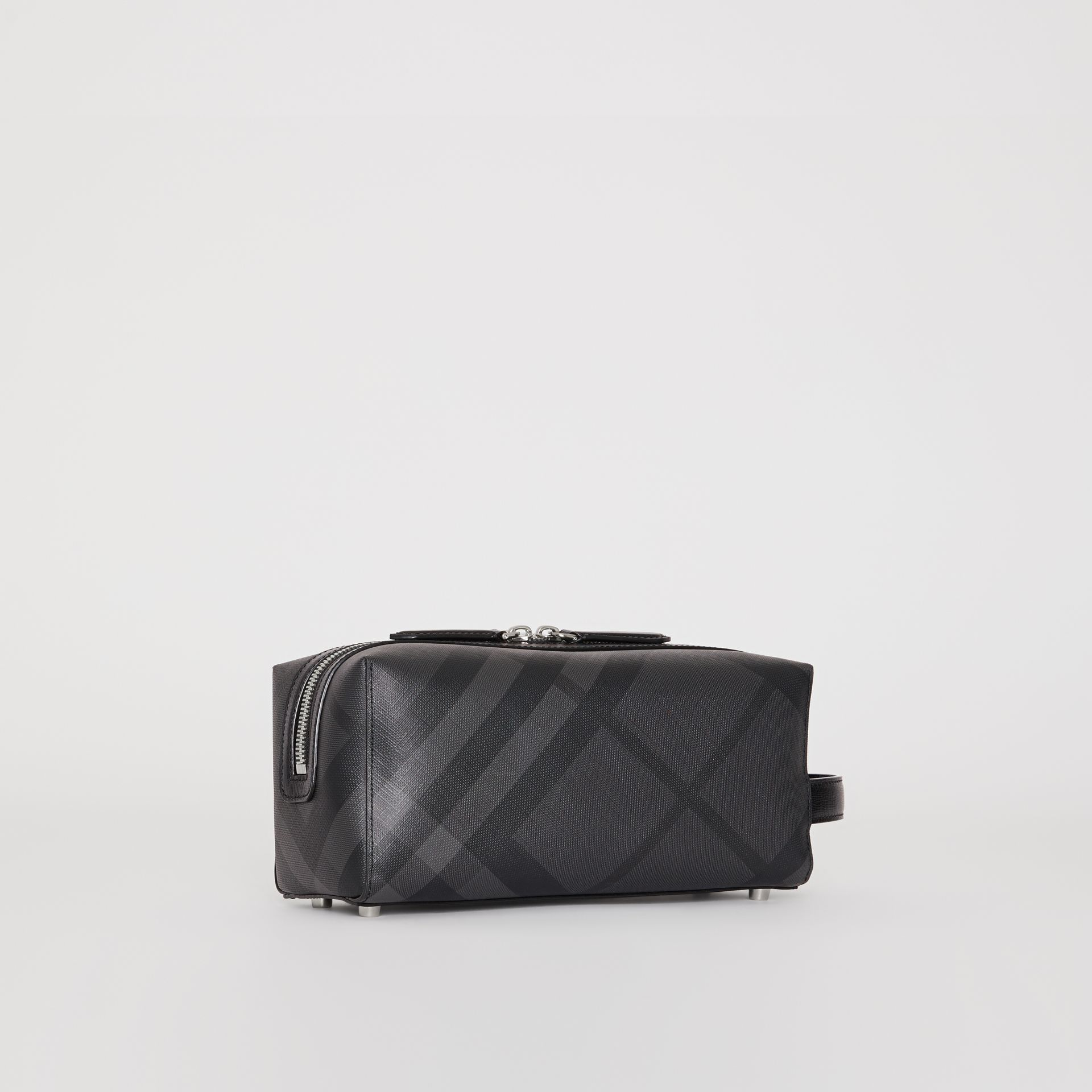 London Check and Leather Pouch in Charcoal/black | Burberry United Kingdom - gallery image 6