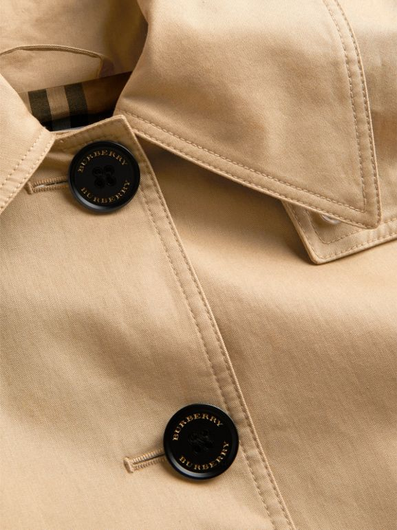 Detachable Hood Showerproof Cotton Swing Coat in Honey | Burberry United Kingdom - cell image 1