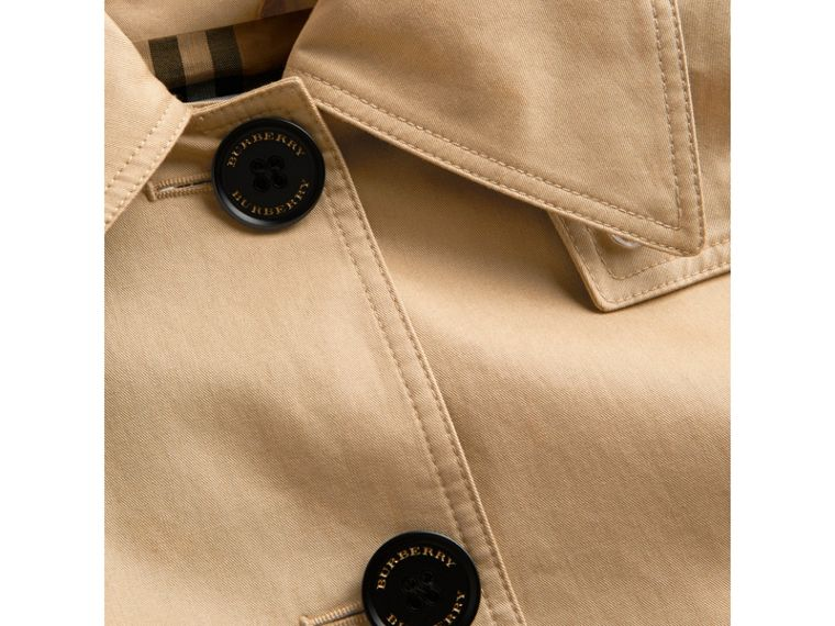 Detachable Hood Showerproof Cotton Swing Coat in Honey - Girl | Burberry - cell image 1