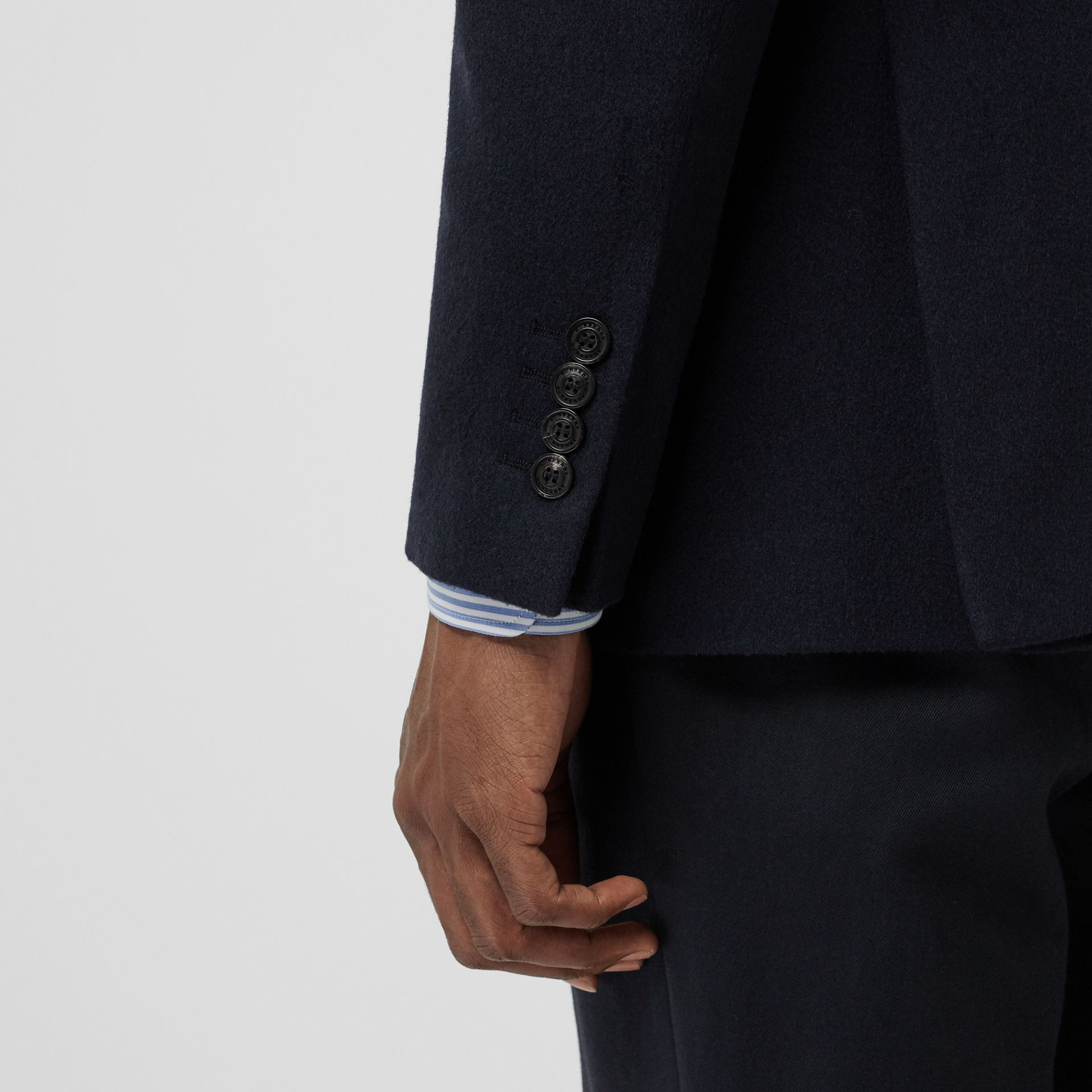 Classic Fit Cashmere Tailored Jacket in Navy Melange - Men | Burberry - gallery image 5