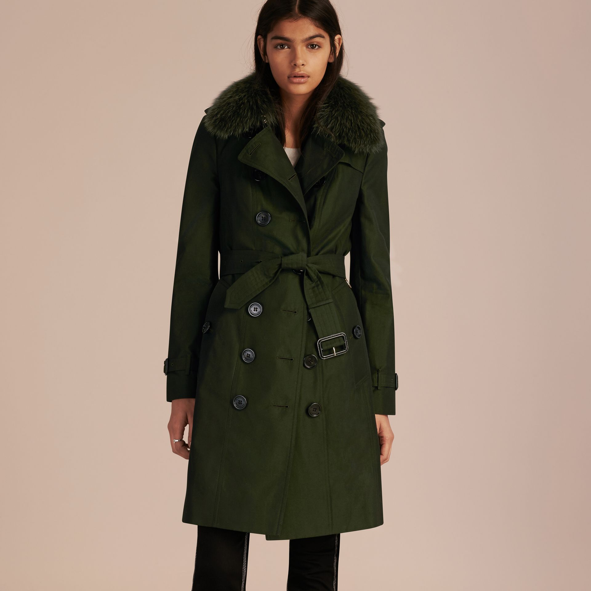 Dark cedar green Cotton Gabardine Trench Coat with Detachable Fur Trim Dark Cedar Green - gallery image 7