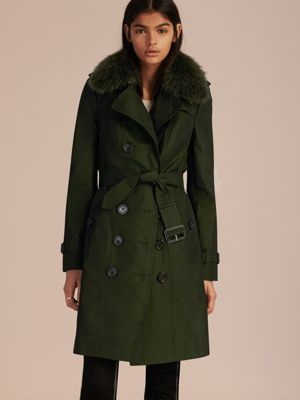 DARK CEDAR GREEN Cotton Gabardine Trench Coat with Detachable Fur Trim 产品图片61